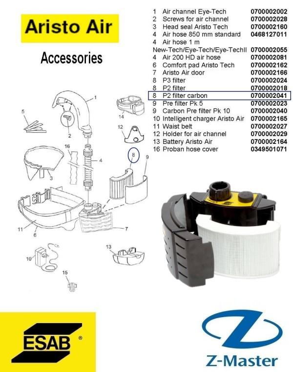 Угольный фильтр P2 для блоков подачи воздуха 0700002041 Эсаб