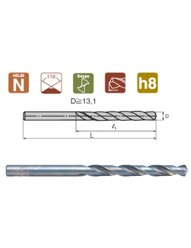 Сверло по металлу d 0.2 с прямым хвостовиком Nachi